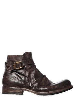 VINTAGE EFFECT WASHED LEATHER BOOTS