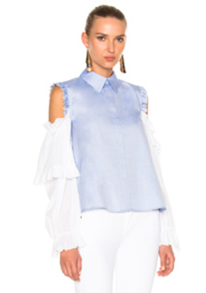 Sandy Liang Flipper Top in Blue,White