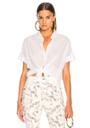rag & bone/JEAN Tie Front Top in White