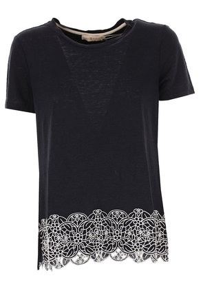 Tory Burch T-Shirt for Women On Sale in Outlet, navy, linen, 2017, 10 8