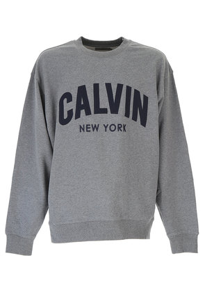 Calvin Klein Sweatshirt for Men, Grey, Cotton, 2017, L M
