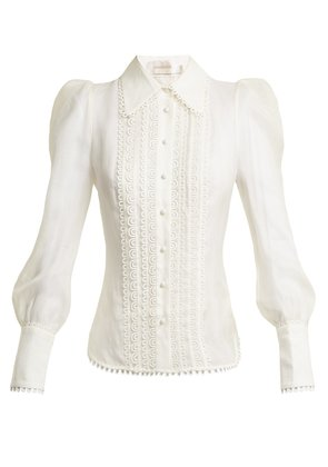 Golden Doily linen and silk-blend blouse