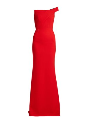 Lockton one-shoulder wool-crepe gown