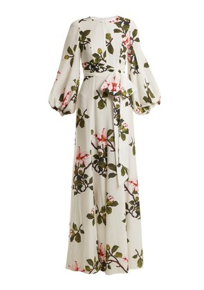Blossom-print puff-sleeved silk gown