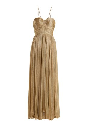 Zaria pleated mesh gown