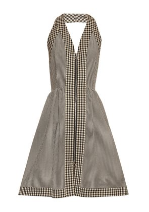 Halterneck checked cotton-blend dress