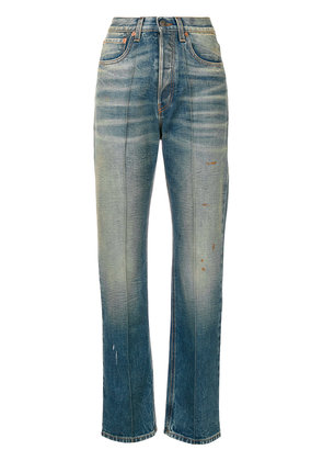 Gucci embroidered faded jeans - Blue