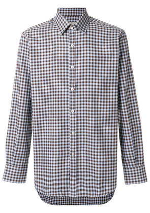 Canali check fitted shirt - Blue