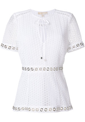 Michael Michael Kors grommeted lace blouse - White