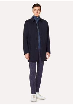 Men's Navy Loro Piana Storm System® Wool Mac With Detachable Liner