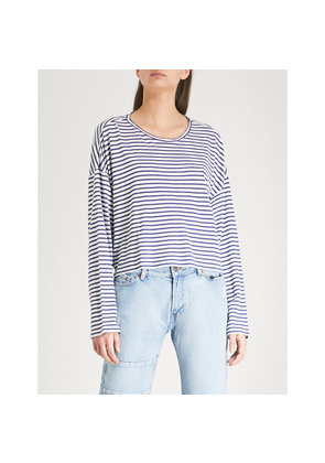 Lace-up striped jersey top