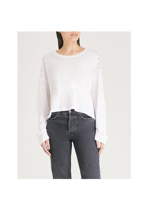 Panelled linen and lace top