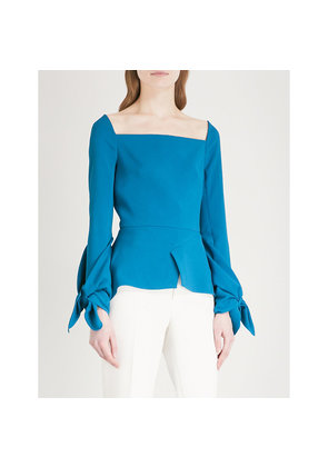 Wicklow ruched-sleeve crepe top
