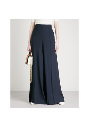 Wide-leg high-rise crepe palazzo trousers