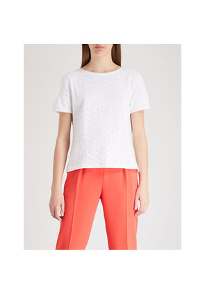 Embroidered self-tie cotton top