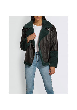 Shearling-collar faux-leather aviator jacket