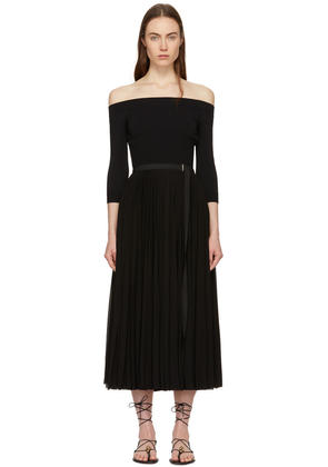 Alexander Mcqueen Black Jersey Off-the-shoulder Dress