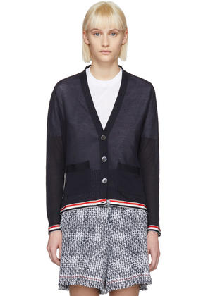 Thom Browne Navy Relaxed Fit V-neck Cardigan