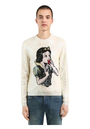 SEQUINED SNOW WHITE WOOL SWEATER