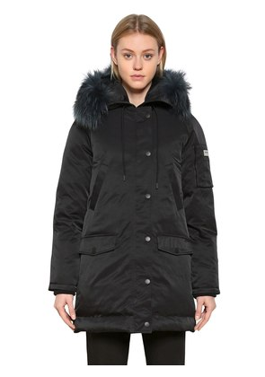 HOODED NYLON PARKA WITH FUR TRIM