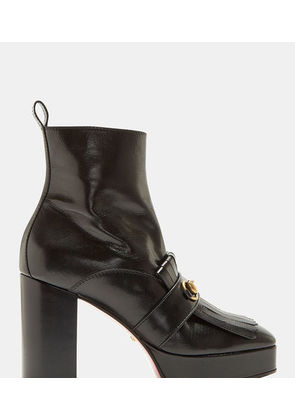 Fringed Horse Buckle Ankle Boots