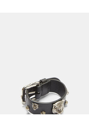 Feline Studded Leather Buckle Bracelet