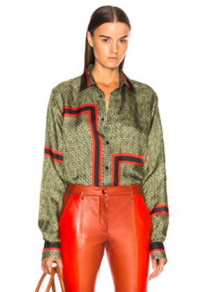 Givenchy 4G Printed Shirt in Geometric Print,Green