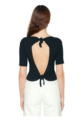 OPEN BACK RIB KNIT TOP W/ BOWS