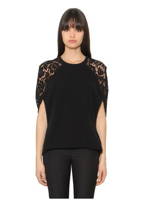 WOOL & CASHMERE KNIT & LACE TOP