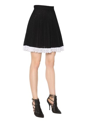 PLEATED COTTON BLEND EYELET LACE SKIRT