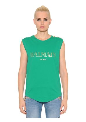 LOGO COTTON JERSEY SLEEVELESS TOP