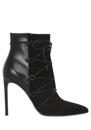 105MM PARIS SUEDE & LEATHER ANKLE BOOTS