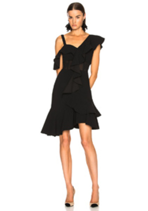 Proenza Schouler One Shoulder Ruffle Mini Dress in Black