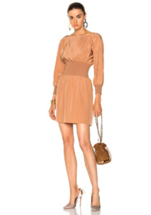 Tibi Sculpted Silk Corset Dress in Neutrals