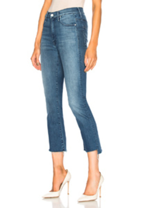 MOTHER Insider Crop Step Fray in Blue