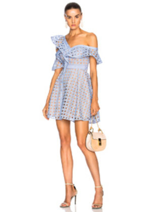self-portrait Lace Frill Dress in Blue