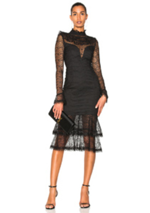 NICHOLAS Vine Lace Ruffle Midi Dress in Black