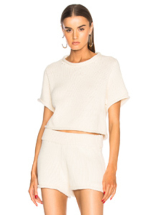 T by Alexander Wang Cropped Short Sleeve Sweater in Neutral