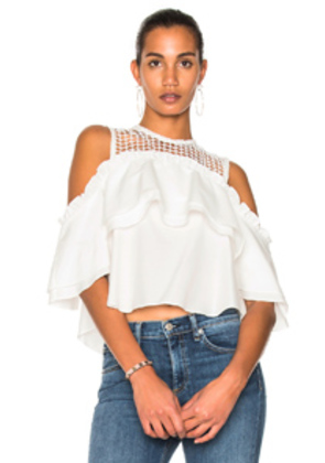 NICHOLAS Double Ruffle Top in White