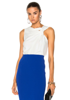 Victoria Beckham Fluid Cady Sleeveless Knotted Top in White