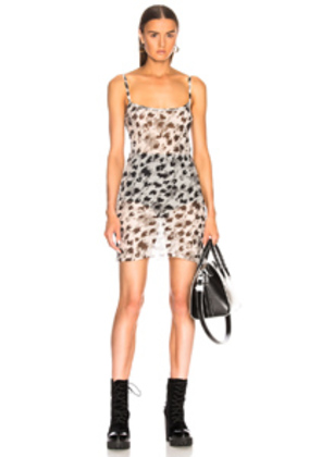 Ann Demeulemeester Leopard Print Slip Dress in Animal Print,White