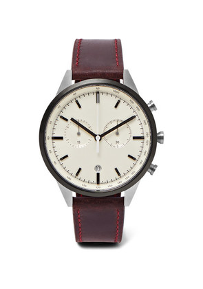 C41 Chronograph Pvd-coated Stainless Steel And Leather Watch