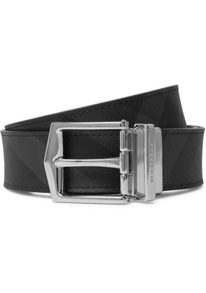 3.5cm Black And Charcoal Reversible Leather And Checked Pvc Belt