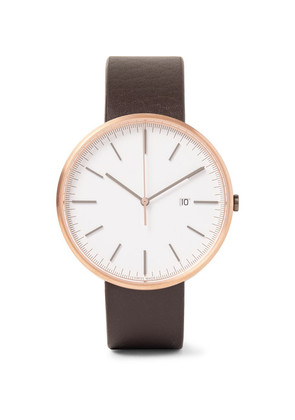 M40 Rose Gold Pvd-coated Stainless Steel And Leather Watch