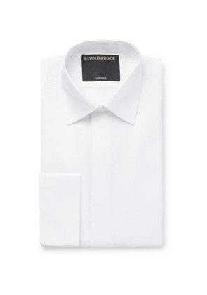 White Bib-front Double-cuff Cotton Tuxedo Shirt