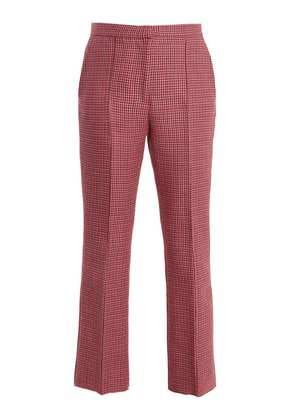 Mid-rise cropped hound's-tooth wool trousers
