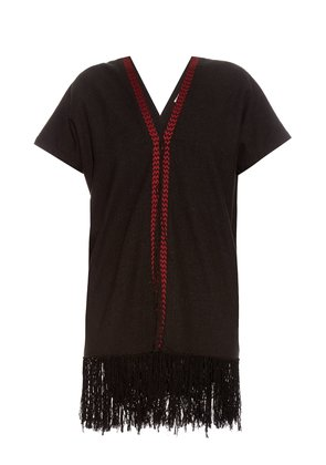 Fringed-hem silk-noil dress