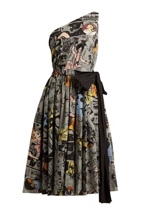 Comic-print one-shoulder cotton dress