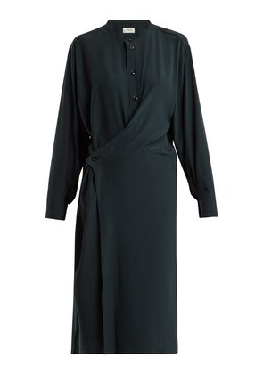 Twisted-front silk dress