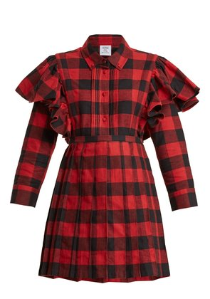 Point-collar checked cotton-flannel dress